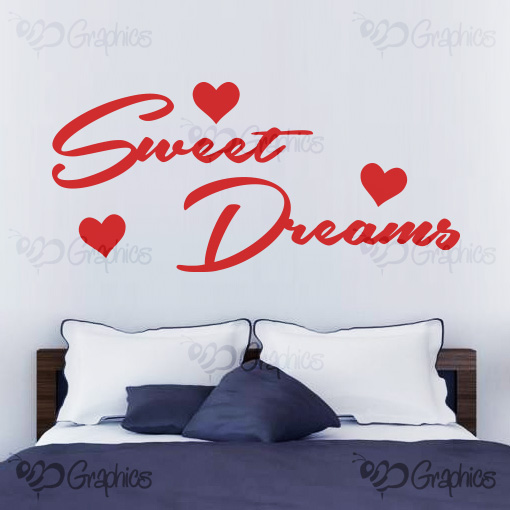 sweet dreams with hearts bedroom wall art quote  u2013 bgraphics